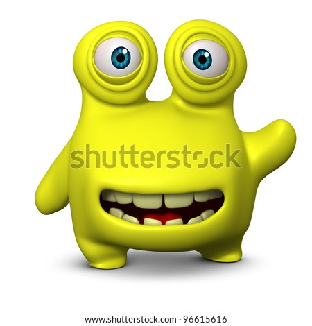 cute yellow alien - stock photo