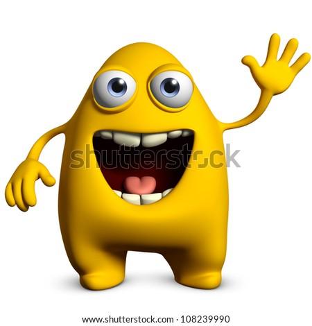 cute yellow monster - stock photo