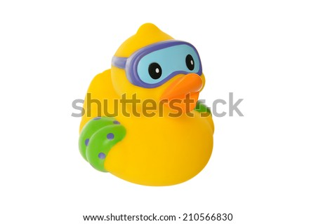 Cute yellow rubber duck with goggles isolated on a white background - stock photo