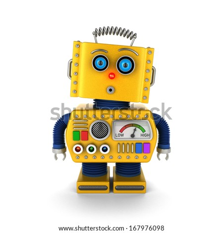 Cute yellow vintage toy robot with a surprised facial expression over white background