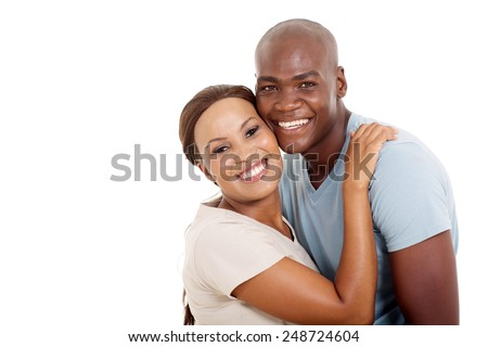 cute young african couple isolated on white background - stock photo