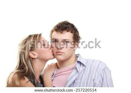 cute young beautiful loving couple - stock photo