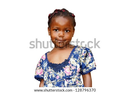 Cute young black African girl isolated on white - stock photo