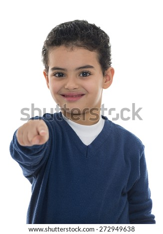 Cute Young Boy Pointing at Camera Isolated on White Background - stock photo
