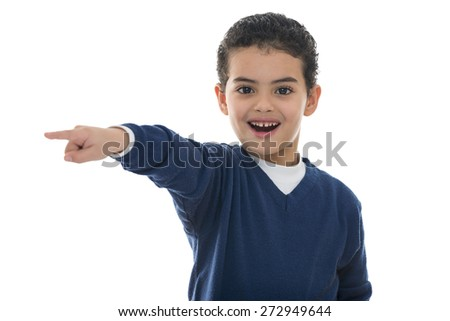 Cute Young Boy Pointing Isolated on White Background - stock photo