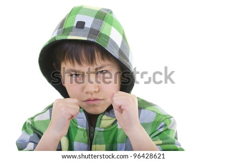 Cute young boy ready to fight with colorful hoodie isolated on white background