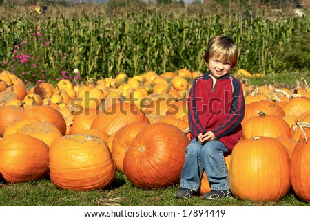 Cute young boy sitting on a pumpkin at the pumpkin patch - stock photo