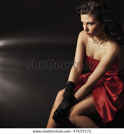 Cute young brunette posing - stock photo