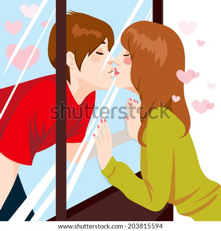 Cute young couple Kissing through glass window with love - stock photo