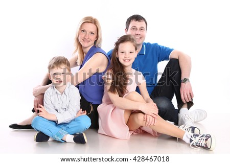 cute young family on white - stock photo