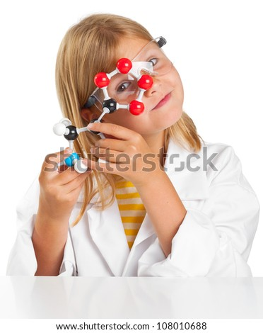 Cute young girl doing science experiments - stock photo