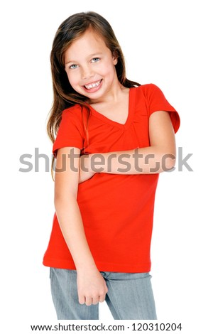 cute young girl smiling and happy isolated on white background