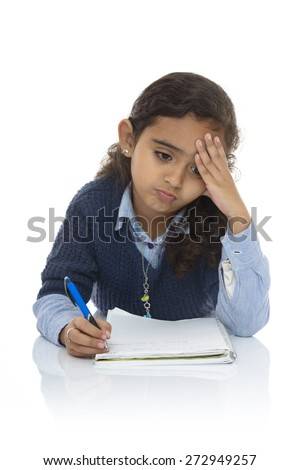 Cute Young Girl Studying Hard Isolated on White Background