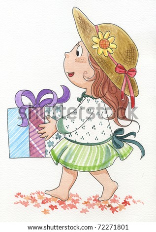 Cute young girl with a gift. Hand made watercolor.