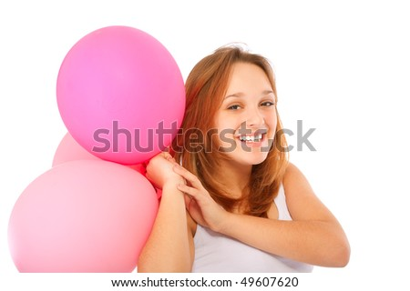 Cute young girl with balloons, isolated on white background. - stock photo