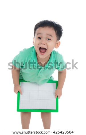 Cute young happy preschooler asian boy holding up blank board for copy isolated on white - stock photo