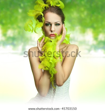 Cute young lady over green background - stock photo