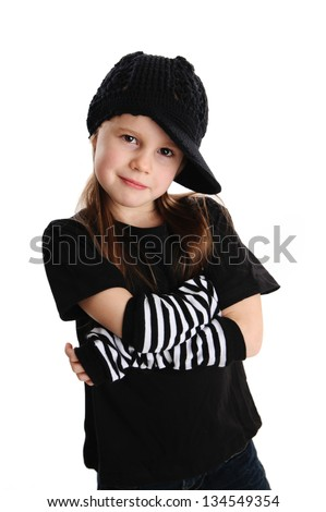 Cute young preschool age girl isolated on a white background, wearing punk clothes and rock star - stock photo