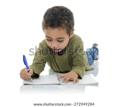 Cute Young Schoolboy Writing Isolated on White Background - stock photo