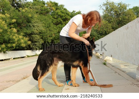 Cute young woman combing her German Shepherd puppy on the theme care and pet care