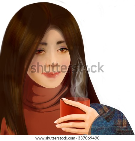 cute young woman drinking coffee on white background