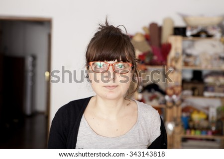 cute young woman in a natural light - stock photo