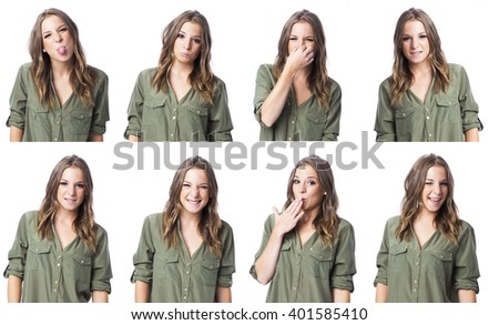 cute young woman in different expression collage - stock photo
