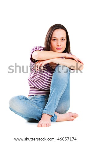cute young woman in striped t-shirt and jeans