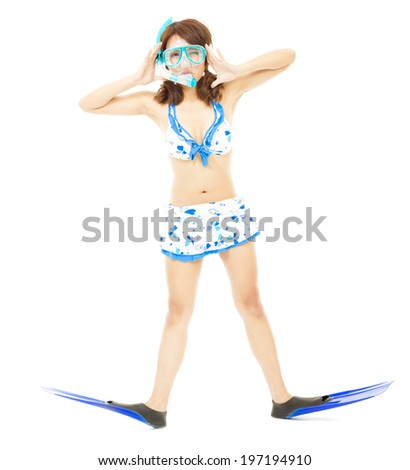 cute young woman make a pose with a scuba equipment - stock photo