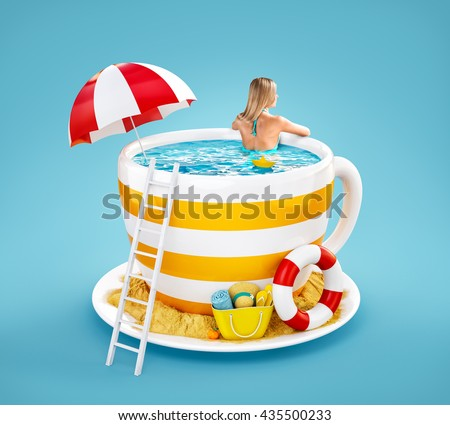 Cute young woman swims in the pool in shape of coffee mug. Unusual 3D illustration of  summer beach resort theme. Travel and vacation concept. Summer creative illustration.
