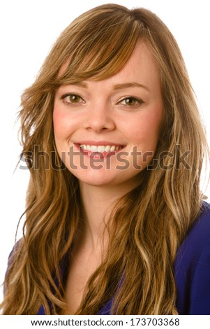 Cute Young Woman - This is a shot of a cute young woman with long wavy hair on a white background. - stock photo