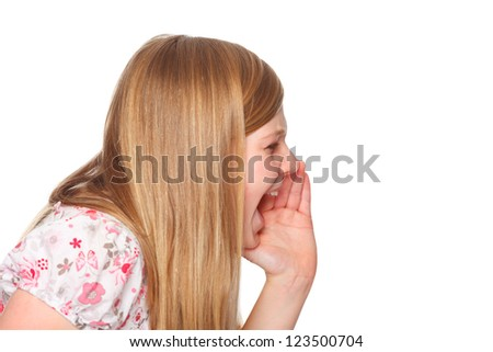 cute youth girl shouting out - stock photo