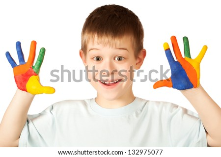 cuteboy with stained coloured hand. isolated
