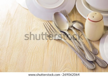 Cutlery and utensils for serving - stock photo