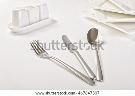 Cutlery, dishes White background. Studio
