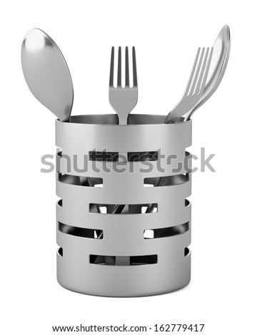 cutlery drainer with forks and spoons isolated on white background