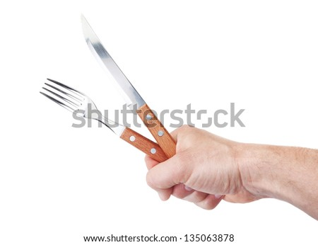 Cutlery for a restaurant in a man's hand. On a white background. - stock photo