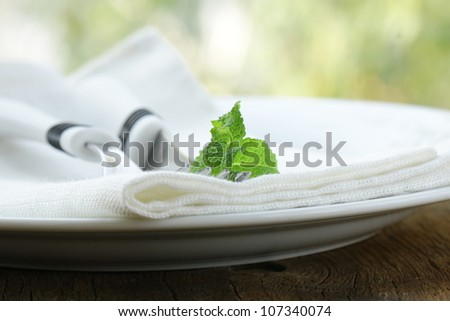 cutlery, fork and knife on a  plate
