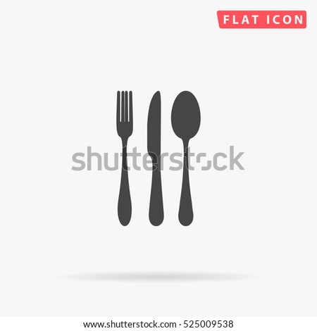 Cutlery Icon Illustration. Flat simple grey symbol on white background with shadow