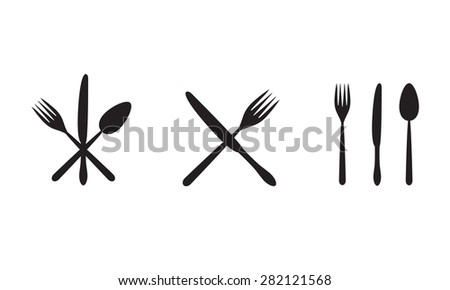 Cutlery icons: knife, fork, spoon. Restaurant or menu design elements.  - stock photo