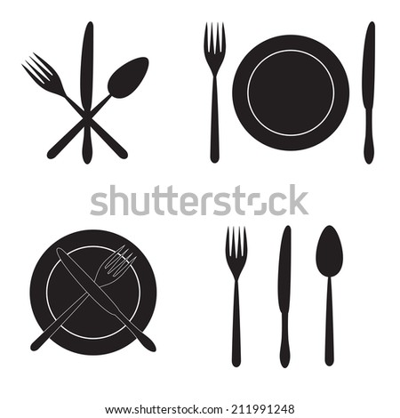 Cutlery: knife, fork, spoon and dish. Black silhouettes on white background. - stock photo