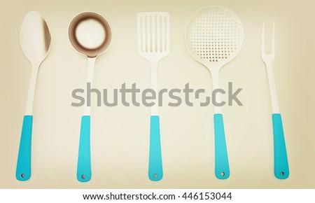 cutlery on a light gray background. 3D illustration. Vintage style. - stock photo