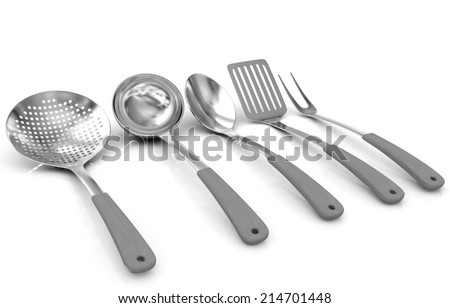Cutlery on a white background  - stock photo