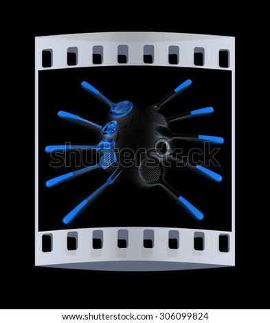 cutlery on black background. The film strip - stock photo