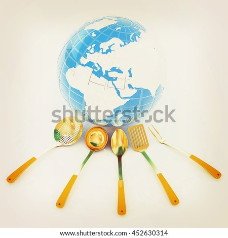 cutlery on white background around Earth. 3D illustration. Vintage style. - stock photo
