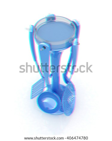 cutlery on white background . 3D illustration. Anaglyph. View with red/cyan glasses to see in 3D. - stock photo