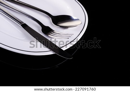 cutlery plate - stock photo