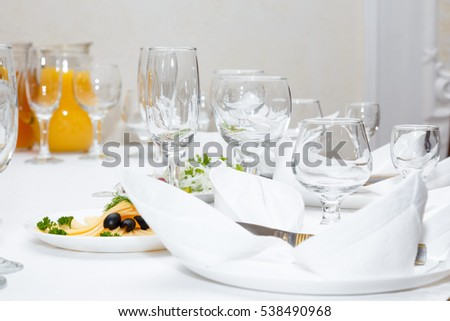 Cutlery served on a festive table in restaurant