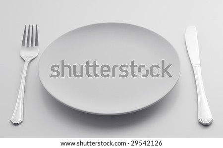 Cutlery Set on a light background. - stock photo