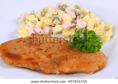 Cutlet and salad